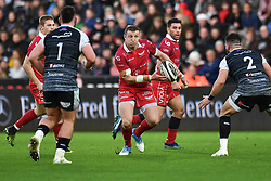 Hadleigh Parkes of Scarlets in action during todays match<br /> <br /> Photographer Craig Thomas/Replay Images<br /> <br /> Guinness PRO14 Round 11 - Ospreys v Scarlets - Saturday 22nd December 2018 - Liberty Stadium - Swansea<br /> <br /> World Copyright © Replay Images . All rights reserved. info@replayimages.co.uk - http://replayimages.co.uk