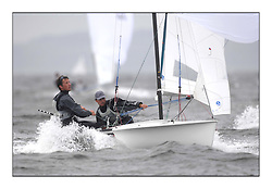470 Class European Championships Largs - Day 2.Wet and Windy Racing in grey conditions on the Clyde...SUI7, Olivier GREMAUD, Adrien GREMAUD, Club Nautique Morgien ..