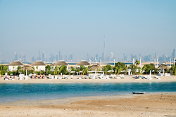 Vew of The Island Lebanon beach resort on a man made island, part of The World off Dubai coast in  United Arab Emirates