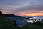 View of Kilve Beach on the North Somerset Coast after the sun had set. The wide angle hows off some of the native geology.