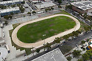 A general view of the dirt track at William Jefferson Clinton Middle School, Monday, June 29, 2020, in Los Angeles. (Kirby Lee via AP)