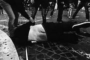 Scontri tra polizia e tifosi del Feyenoord in piazza di Spagna poco prima del match di europa league contro la Roma.  Roma 20 febbraio 2015.  Christian Mantuano / OneShot <br /> <br /> Feyenoord fans clash with police in Rome. Rome 20 February 2015. Christian Mantuano / OneShot