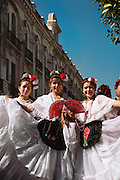 Young women dancers in traditional costumes in Guadalajara, Mexico.