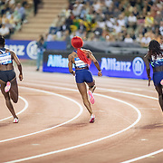BRUSSELS, BELGIUM:  September 3:  Christine Mboma of Namibia, Sha'Carri Richardson of the United States and  Dina Asher-Smith of Great Britain in the 200m for women race during the Wanda Diamond League 2021 Memorial Van Damme Athletics competition at King Baudouin Stadium on September 3, 2021 in  Brussels, Belgium. (Photo by Tim Clayton/Corbis via Getty Images)