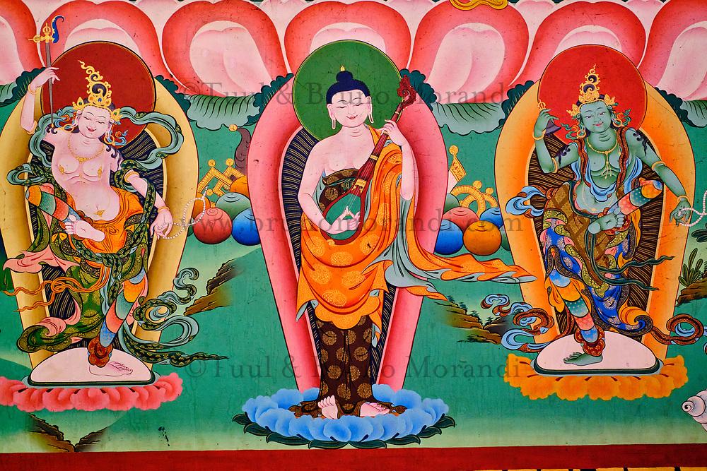 Nepal, Vallee de Kathmandu, Katmandou, village de Bodnath, peinture murale dans le monastère Guru Lhakhang Monastery // Nepal, Kathmandu valley, Bodnath village, Guru Lhakhang Monastery painting