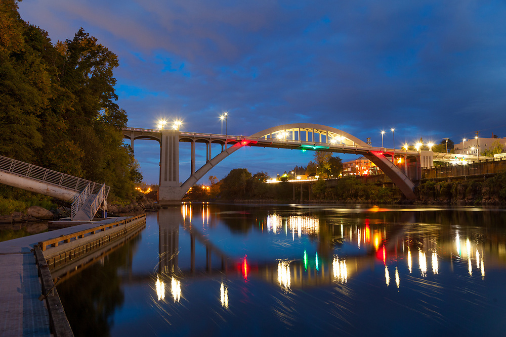 Historic West Linn / Oregon City Arch bridge, photographed from the public fishing dock on the Willamette River, in West Linn, Oregon