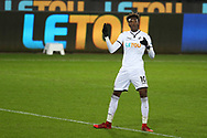 Tammy Abraham of Swansea city celebrates after he scores a goal. The Emirates FA Cup, 4th round replay match, Swansea city v Notts County at the Liberty Stadium in Swansea, South Wales on Tuesday 6th February 2018.<br /> pic by  Andrew Orchard, Andrew Orchard sports photography.