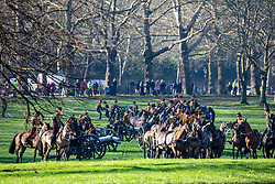 © Licensed to London News Pictures. 06/02/2020. London, UK. The king's Troop Royal Horse Artillery prepare to fire a 41-gun salute in Green Park to mark the 68th anniversary of the Queen's Accession to the Throne. Photo credit: Alex Lentati/LNP