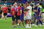 Barcelona Neymar is hugged by Real Madrid Midfielder Casemiro during the International Champions Cup match between Real Madrid and FC Barcelona at the Hard Rock Stadium, Miami on 29 July 2017.