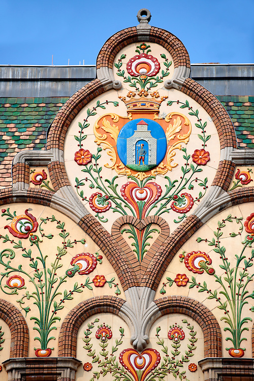 Art Nouveau (szecessziós Stilus) style town hall (1912) with Zolnay ceramic tiles , Kiskunfélegyháza, Southern Hungary .<br /> <br /> Visit our HUNGARY HISTORIC PLACES PHOTO COLLECTIONS for more photos to download or buy as wall art prints https://funkystock.photoshelter.com/gallery-collection/Pictures-Images-of-Hungary-Photos-of-Hungarian-Historic-Landmark-Sites/C0000Te8AnPgxjRg