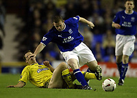 Photo. Aidan Ellis.<br />Everton v Charlton. <br />Carling Cup Round 3.<br />29/10/2003.<br />Everton's Wayne Rooney and Charlton's Scott Parker