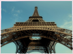 Polaroid transfer image of the Eiffel Tower in Paris France