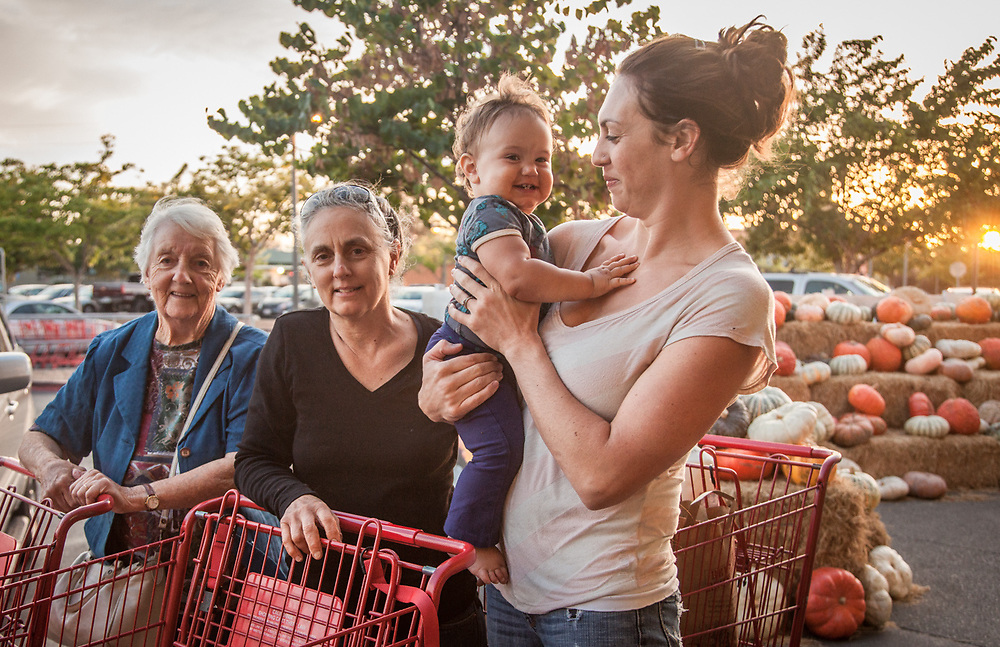 Vanessa Holt with her daughter Amaya and her mother and grandmother at the Trader Joe's in Santa Rosa, CA