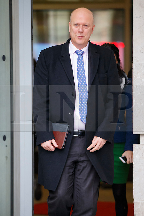 © Licensed to London News Pictures. 05/02/2017. London, UK. Transport Secretary CHRIS GRAYLING leaves BBC Broadcasting House in London after appearingz on The Andrew Marr show on BBC One on 5 February 2017. Photo credit: Tolga Akmen/LNP