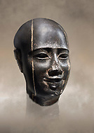 Ancient Egyptian statue bust of a male, graanodiorite, Late Period, (722-322 BC). Egyptian Museum, Turin. Grey background.  Drovetti collection. Cat 3139 .<br /> <br /> If you prefer to buy from our ALAMY PHOTO LIBRARY  Collection visit : https://www.alamy.com/portfolio/paul-williams-funkystock/ancient-egyptian-art-artefacts.html  . Type -   Turin   - into the LOWER SEARCH WITHIN GALLERY box. Refine search by adding background colour, subject etc<br /> <br /> Visit our ANCIENT WORLD PHOTO COLLECTIONS for more photos to download or buy as wall art prints https://funkystock.photoshelter.com/gallery-collection/Ancient-World-Art-Antiquities-Historic-Sites-Pictures-Images-of/C00006u26yqSkDOM
