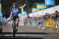 February 24, 2019 - Oostmalle, BELGIUM - Dutch Maik Van Der Heijden celebrates as he crosses the finish line to win the U23 race at the 'Internationale Sluitingsprijs Oostmalle' cyclocross race, Sunday 24 February 2019, in Oostmalle, the last race of the 2018-2019 season. BELGA PHOTO DAVID STOCKMAN (Credit Image: © David Stockman/Belga via ZUMA Press)