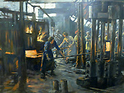 The Munitions Girls (detail) by Stanhope Forbes, oil on canvas, 1918.  The painting depicts woman workers at a steel works.  The 1st World War made unprecedented demands on industry and the Kilnhurst works were converted to the manufacture of artillery shells.