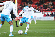 Tarryn Allarakhia shoots at goal during the EFL Sky Bet League 2 match between Walsall and Crawley Town at the Banks's Stadium, Walsall, England on 18 January 2020.