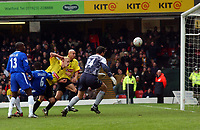 Gavin Mahon (Watford) beats Neil Sullivan (Chelsea) and scores. Watford v Chelsea, Vicarage Road, 03/01/2004, F.A. Cup, 3rd Round. Credit : Colorsport / Robin Hume. Digital File Only.