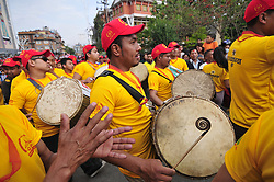 April 30, 2017 - Laltipur, NP, Nepal - Devotees playing traditional instruments during Chariot pulling festival of Rato Machindranath 'God of Rain' on first day at Pulchowk, Lalitpur, Nepal on Sunday, April 30, 2017. The longest festival of Nepal, Rato Machindranath Festival continues from May 10, 2016. Rato Machindranath is also said as the 'god of rain' and both Hindus and Buddhists worship the Machindranath in hope of good rain to prevent drought during the rice plantation season. (Credit Image: © Narayan Maharjan/Pacific Press via ZUMA Wire)