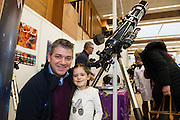 27/11/2016 REPRO FREE:    Padraig O'Connor and his daughter Roisin (4) from Tuam learn more about Galway AstronomyClubinNUI Galway as part of the Galway Science & Technology Festival.<br /> <br /> <br /> Photo: Andrew Downes, Xposure.