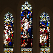Stained glass window Adoration of Magi, Deposition of Jesus Christ after his death, three Marys,  H. Hughes, 1871 Wilsford, Wiltshire, England, UK