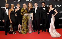 March 31, 2019 - Toronto, on, Canada - Cast members of ''Schitt's Creek'' pose on the red carpet at the Canadian Screen Awards in Toronto on Sunday, March 31, 2019. (Credit Image: © Nathan Denette/The Canadian Press via ZUMA Press)