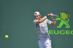 April 1, 2018 - Miami, FL, United States - Miami, FL - APRIL 1: John Isner (USA) in action during the finals of the 2018 Miami Open held at the Tennis Center at Crandon Park on April 1, 2018.   Credit: Andrew Patron/Zuma Wire (Credit Image: © Andrew Patron via ZUMA Wire)