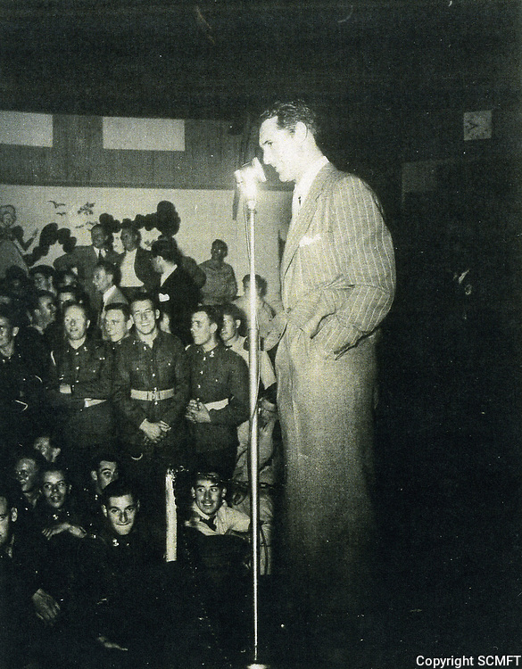 1944 Cary Grant entertains servicemen at the Hollywood Canteen