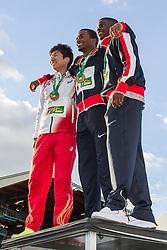 awards podium, mens 100 meters, WIlliams USA, Bromell USA, Kiryu Japan,
