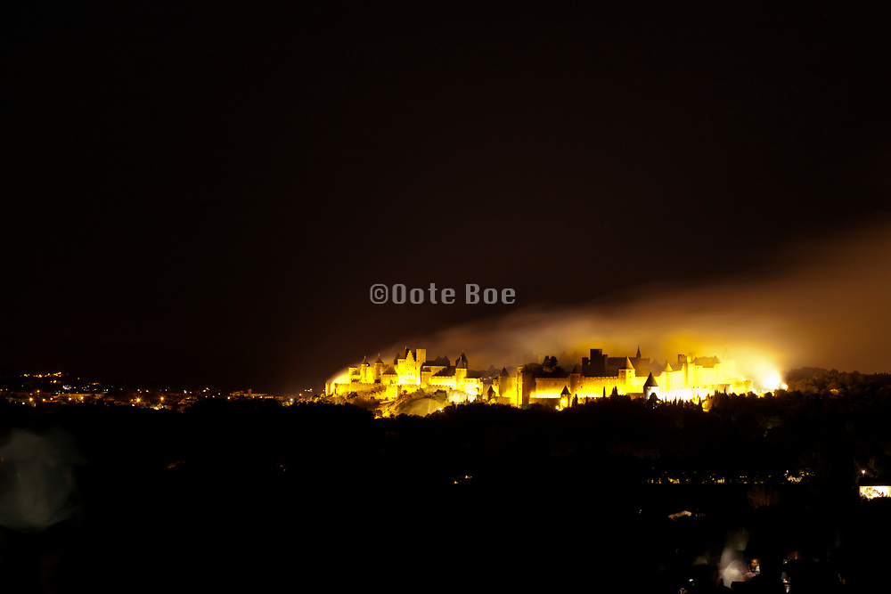 end of the 14 July Bastille day fireworks, Carcassonne, La Cite