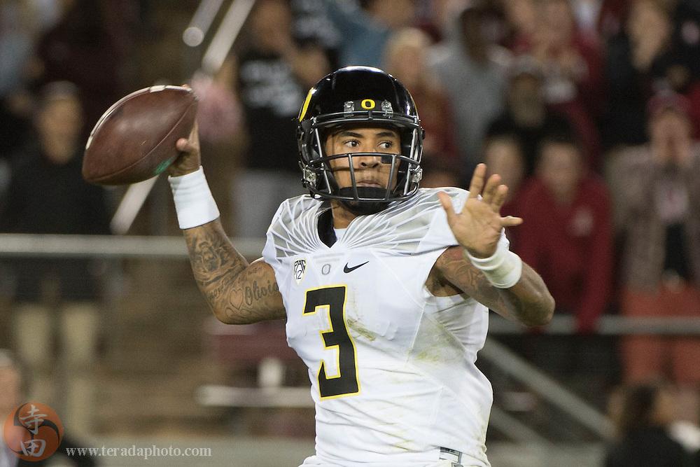 November 14, 2015; Stanford, CA, USA; Oregon Ducks quarterback Vernon Adams Jr. (3) passes the football against the Stanford Cardinal during the fourth quarter at Stanford Stadium. The Ducks defeated the Cardinal 38-36.