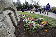 Members of the public leave floral tributes to Prince Philip, Duke Of Edinburgh outside of Windsor Castle on Sunday, April 11, 2021. The Queen announced the death of her beloved husband, His Royal Highness Prince Philip, Duke of Edinburgh who died at age 99. HRH passed away peacefully on April 9th at Windsor Castle. (Photo/ Vudi Xhymshiti)