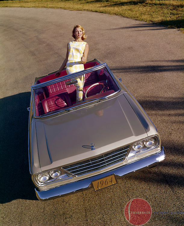 A 1964 Studebaker Daytona Convertible is shown at the Studebaker Corporation's Proving Ground test track in New Carlisle, Indiana.
