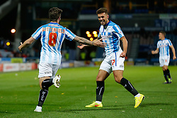 Jacob Butterfield (L)  celebrates scoring a goal with Tommy Smith of Huddersfield Town - Photo mandatory by-line: Rogan Thomson/JMP - 07966 386802 - 21/10/2014 - SPORT - FOOTBALL - Huddersfield, England - The John Smith's Stadium - Huddersfield Town v Brighton & Hove Albion - Sky Bet Championship.