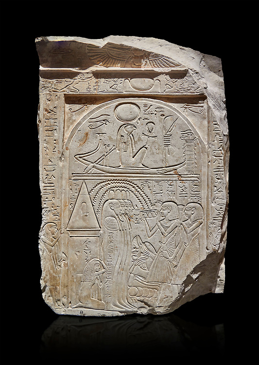 """Ancient Egyptian stele of sculptor Qen, limestone, New Kingdom, 19th Dynasty, (1279-1213 BC), Deir el-Medina, Old Fund cat 1635. Egyptian Museum, Turin. black background<br /> <br /> This stele belongs to the """"painter of outlines' and sculptor Qen who lived in the reign of Ramesses II. It depicrs a funeral celebration for him infront of funerary chapel with his sond Meryre and Huy, who are performing the """"ceremony of Opening of the Mouth"""". His daughter Taqri is depicted grieving over the loss of her father. The chapel is summounted by a Pyramidion. .<br /> <br /> If you prefer to buy from our ALAMY PHOTO LIBRARY  Collection visit : https://www.alamy.com/portfolio/paul-williams-funkystock/ancient-egyptian-art-artefacts.html  . Type -   Turin   - into the LOWER SEARCH WITHIN GALLERY box. Refine search by adding background colour, subject etc<br /> <br /> Visit our ANCIENT WORLD PHOTO COLLECTIONS for more photos to download or buy as wall art prints https://funkystock.photoshelter.com/gallery-collection/Ancient-World-Art-Antiquities-Historic-Sites-Pictures-Images-of/C00006u26yqSkDOM"""