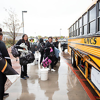 The Miyamura Lady Patriots loading on to the bus, Friday May 10 in front of Miyamura High School to travel to Lovington for their game 1 p.m. game Saturday, May 11, for  the 2019 NMAA State Softball Championships.