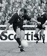 Twickenham, GREAT BRITAIN,  Rob ANDREW, kicking from midfield during the premiership match, Harlequins vs London Wasps, played at The Stoop Memorial Ground. 14. 10.1994<br /> <br /> [Mandatory Credit; Peter Spurrier/Intersport-images]