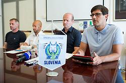 Ivo Jan, Dejan Kontrec, Nik Zupancic and Matjaz Rakovec at press conference of HZS and Nik Zupancic as a new head coach of Slovenian national hockey team, on June 15th, in Hala Tivoli , Ljubljana, Slovenia. Photo by Matic Klansek Velej / Sportida