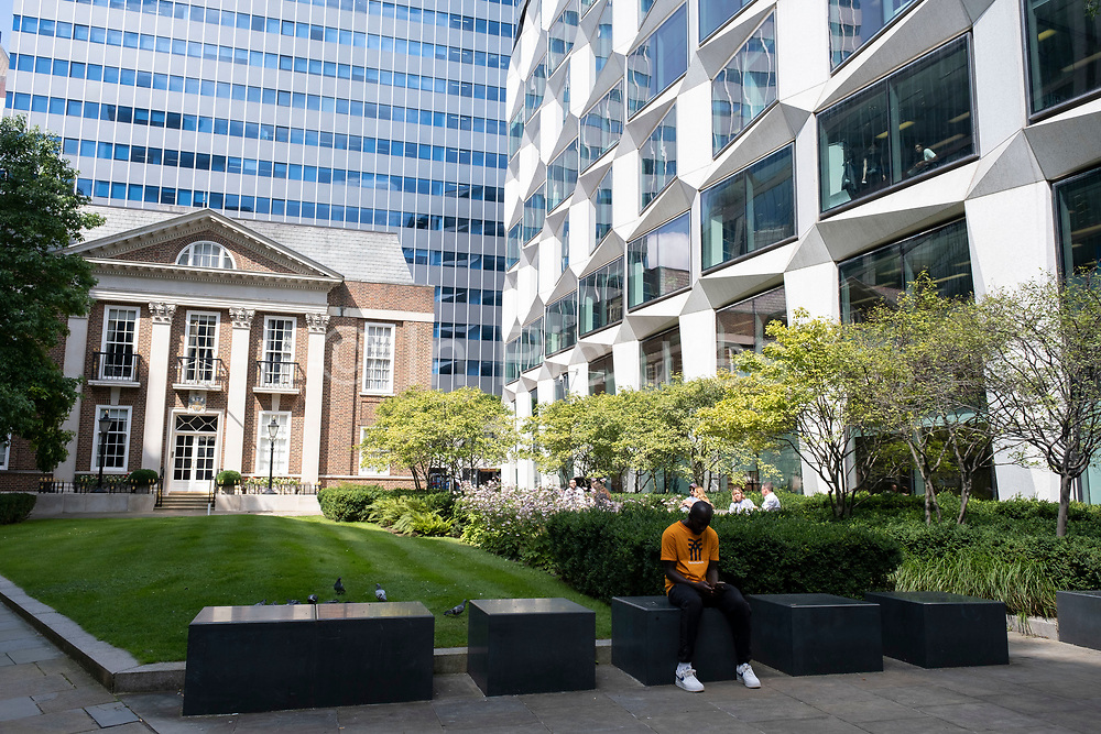 Legal & General offices at Coleman Street Gardens in the City of London on 11th August 2021 in London, United Kingdom. Legal & General Group plc, commonly known as Legal & General, is a British multinational financial services and asset management company headquartered in London, England. Its products and services include investment management, lifetime mortgages, pensions, annuities, and life assurance.