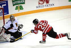 Goalkeeper Robert Muller of Germany vs Martin St.Louis of Canada at ice-hockey game Canada vs Germany in Qualifying Round Group F, at IIHF WC 2008 in Halifax,  on May 10, 2008 in Metro Center, Halifax, Nova Scotia,Canada. Canada won 11:1. (Photo by Vid Ponikvar / Sportal Images)
