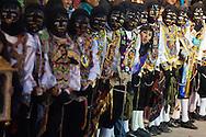 "Feast of ""Mamacha del Carmen"" of Paucartambo. The negrillos waiting for the passage of Mamacha"