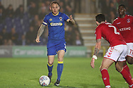 AFC Wimbledon defender Barry Fuller (2) looking to pass the ball during the EFL Sky Bet League 1 match between AFC Wimbledon and Charlton Athletic at the Cherry Red Records Stadium, Kingston, England on 10 April 2018. Picture by Matthew Redman.