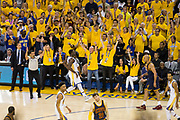 Golden State Warriors forward Draymond Green (23) celebrates a three pointer against the Cleveland Cavaliers during Game 1 of the NBA Finals at Oracle Arena in Oakland, Calif., on June 1, 2017. (Stan Olszewski/Special to S.F. Examiner)