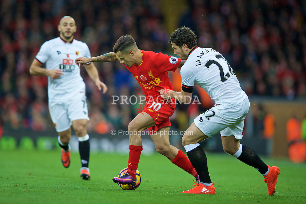 LIVERPOOL, ENGLAND - Sunday, November 6, 2016: Liverpool's Philippe Coutinho Correia in action against Watford's Daryl Janmaat during the FA Premier League match at Anfield. (Pic by David Rawcliffe/Propaganda)