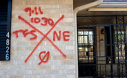 21 Sept 2005. Slidell, Louisiana.   Hurricane Katrina aftermath. <br /> Houses in Slidell in Eastern New Orleans were searched for possible corpses and marked accordingly by authorities.<br /> Photo; ©Charlie Varley/varleypix.com
