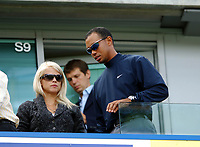 Chelsea/Liverpool Premier League 17.09.06<br />Photo: Tim Parker Fotosports International<br />Tiger Woods and his wife Elin watch Chelsea/Liverpool from the stands