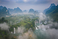 Aerial view of the Detian Falls cover by fog, China-Vietnam