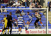 Reading, England, Nationwide Division One Football Reading v Preston North End,Reading Keeper Marcus Hahnemann and Ricky Newman airbourne as the ball is cleared, at the Madejski Stadium, on 18/10/2003 [Credit  Peter Spurrier/Intersport Images]..