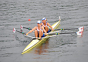 Shunyi, CHINA.  Start of  the  women's double sculls repechage, GBR W2X, Bow Elise LAVERICK and Anna BEBINGTON, move away from the start pontoon at the 2008 Olympic Regatta, Shunyi Rowing Course. Monday. 11.2008  [Mandatory Credit: Peter SPURRIER, Intersport Images]